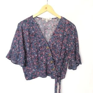 Gypsies & Moondust Crop Floral Blouse Women's L